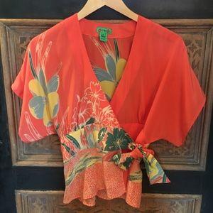 Tibi Vintage 100% Silk Kimono Sleeved Wrap Top